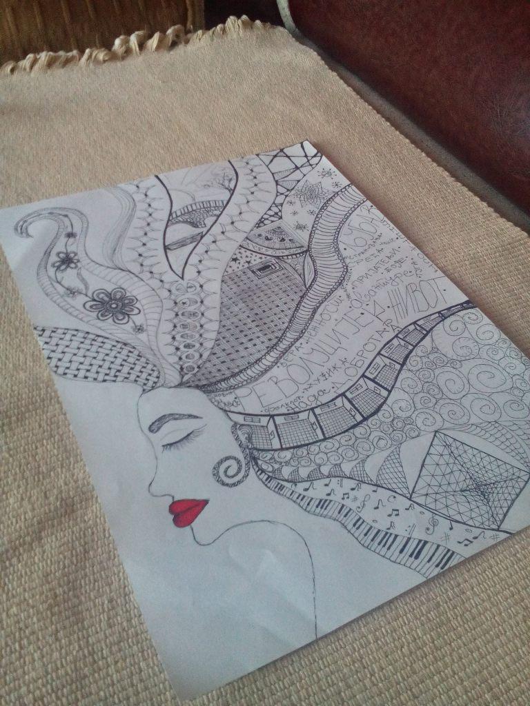 dama/ lice/profil/crtez/zentangle/kosa/usne
