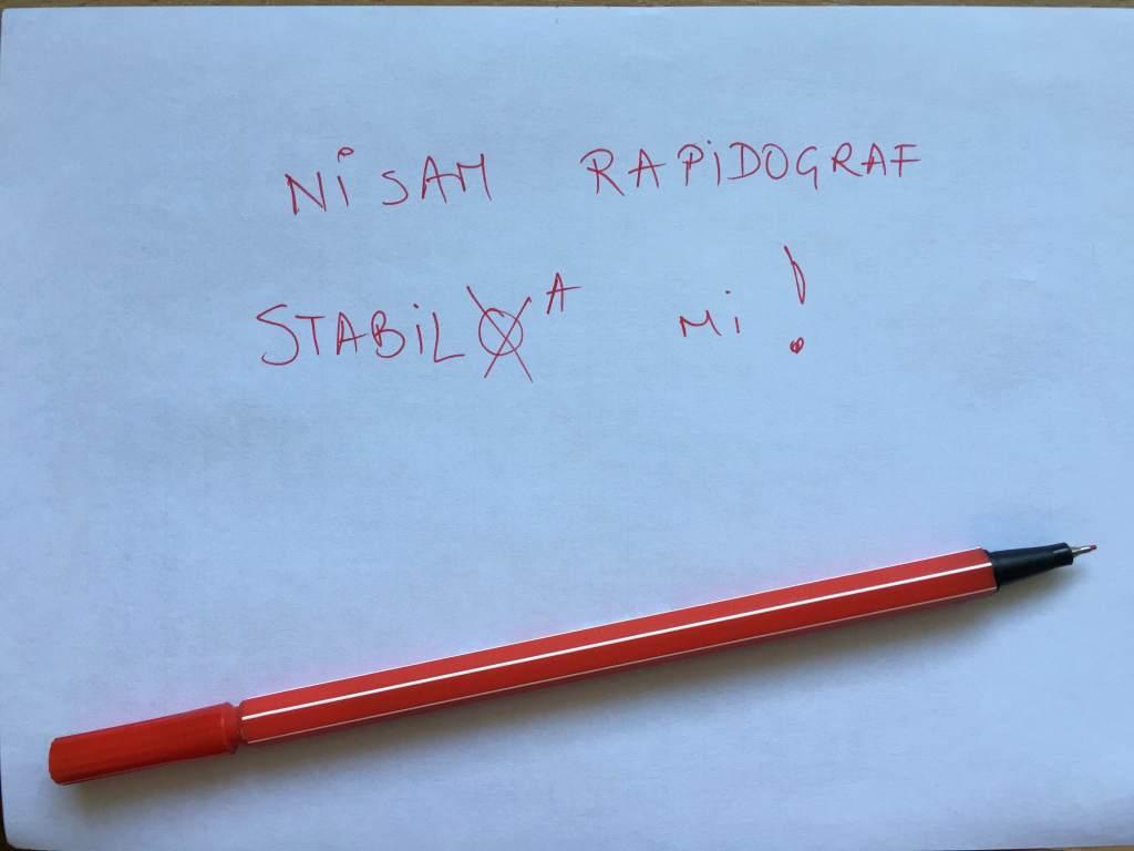 rapidograf/flomaster/tanki flomaster/stabilo/crveni